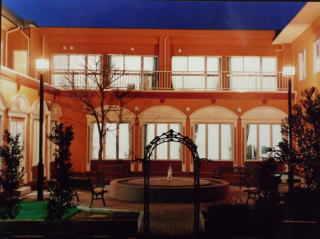建物の中にあるパティオ (水と光で癒し空間)